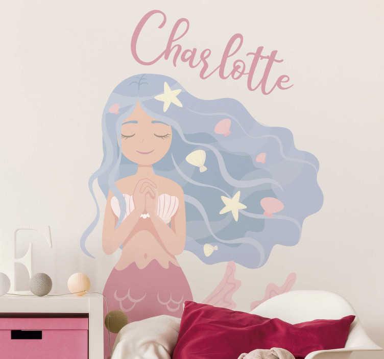 TenVinilo. Vinilo pared sirena de colores. Vinilo para personalizar y decorar una habitación infantil formada por el dibujo de una sirena en colores pastel. Precios imbatibles .