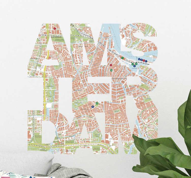 TenStickers. Muurstickers tekst Amsterdam kaart. Een leuke kaart muursticker van Amsterdam! Beroemde straatjes met alle typsiche nederlandse straatnamen. Bekijk hier kaart Amsterdam muurstickers!