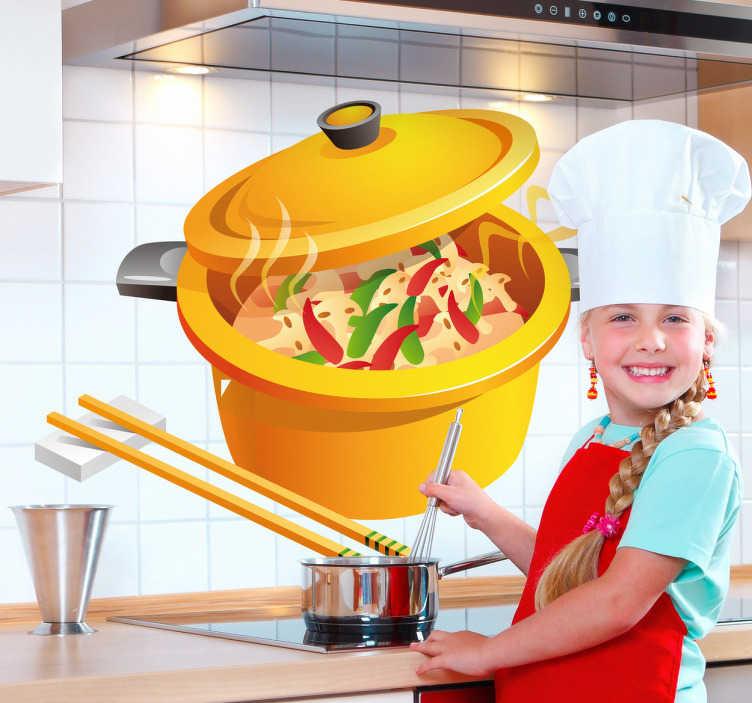 TenStickers. Wandtattoo Asiatisches Essen. Das Design zeigt eine mit Reis und Gemüse gefüllten Kochtopf mit Stäbchen dazu.