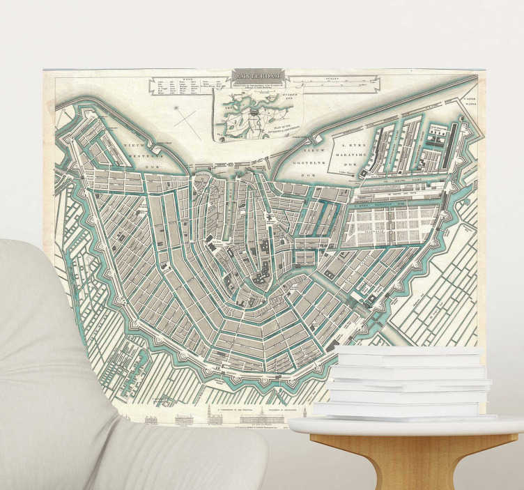 TenStickers. Muurstickers woonkamer oude kaart Amsterdam. Bekijk hier leuke oude kaart Amsterdam muurstickers voor de woonkamer! Vrolijk uw muren op deze kaart muursticker van Amsterdam, in alle maten!