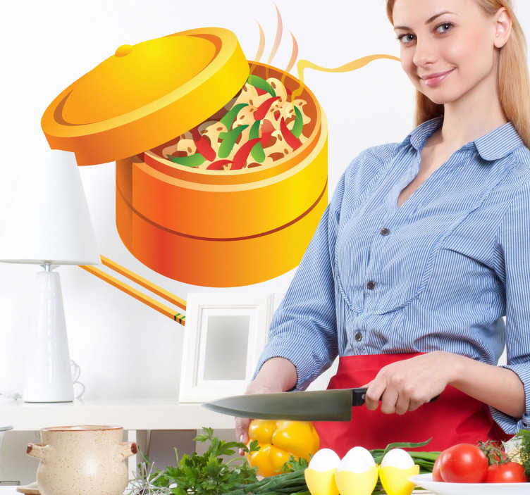 TenStickers. Oriental Food Kitchen Decal. Kitchen Wall Stickers - Illustrations with a oriental chinese theme. Colourful bamboo basket for cooking vegetables and dumplings.