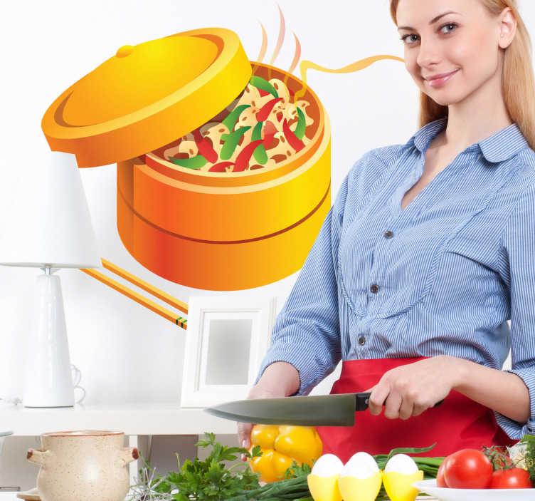 TenStickers. Oostelijke muursticker. Oostelijke muursticker voor uw keuken in een bamboe mandje voor het koken van groenten en andere voedingsmiddelen.