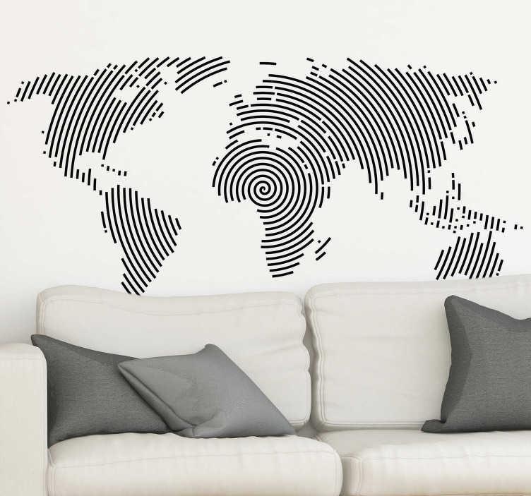 TenStickers. Sodoben dizajn dnevne sobe. če imate radi potovanje, okrasite svojo hišo s stensko nalepko na svetovnem zemljevidu, sestavljeno iz modernega dizajna s črnimi krožnimi linijami