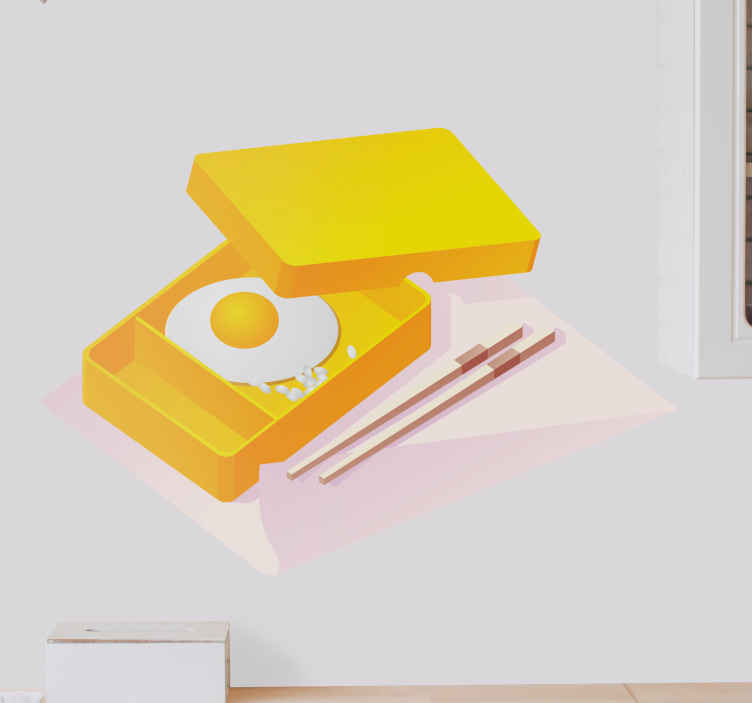 TenStickers. Sticker cuisine chinoise oeuf. Ajoutez de la gaieté à votre mobilier, vos murs ou vos appareils électroménagers avec ce stickers pour cuisine représentant un plat de nourriture à base d'œuf au plat à déguster avec des baguettes.