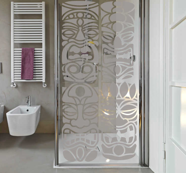TenStickers. Maori mask (bulkhead) shower sticker. Translucent maori mask shower screen sticker to decaorate the bathroom shower door Buy it in the best suitable size to cover the surface.