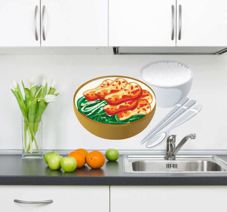 TenStickers. Naklejka kurchak po chińsku. Naklejka winylowa z daniem wprost z kuchni azjatyckiej. Miska z warzywami, kurczakiem, obok ryż oraz pałeczki jako sztućce.
