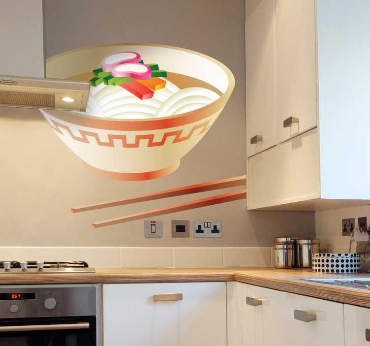 TenStickers. Sticker cuisine bol nourriture chinoise. Ajoutez de la gaieté à votre mobilier, vos murs ou vos appareils électroménagers avec ce stickers pour cuisine représentant une soupe chinoise avec des nouilles à déguster avec des baguettes.