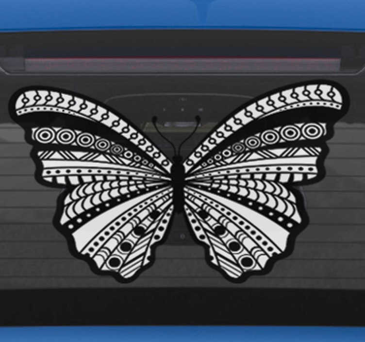 TenStickers. butterfly animal wall sticker. Decorate your car and make it unique with this car sticker, that shows a butterfly, decorated with an ethnic design in black and white