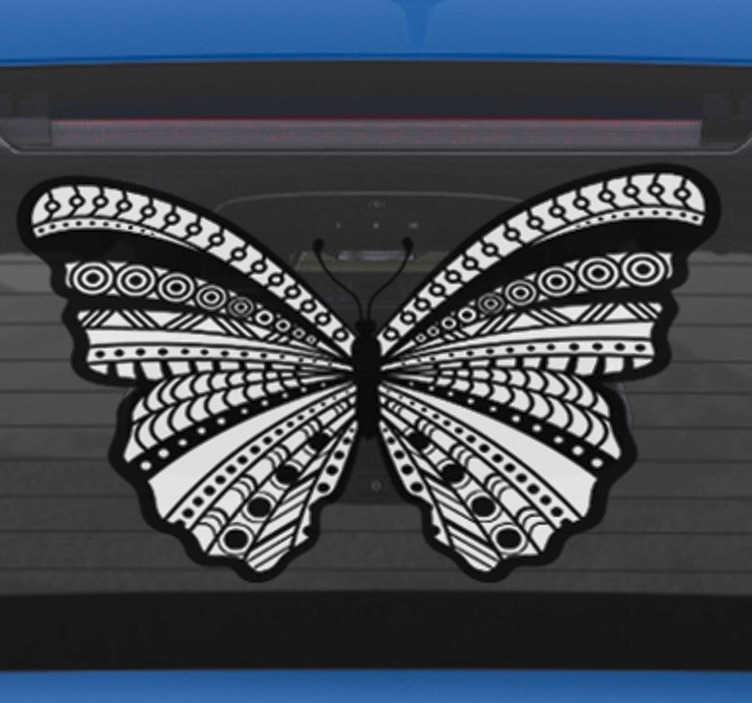 TenStickers. Adesivo per auto farfalla ornata. Rendi la tua auto molto piu' personalizzata e decorata, con questo nostro adesivo auto, con il disegno di una farfalla bianco e nero!