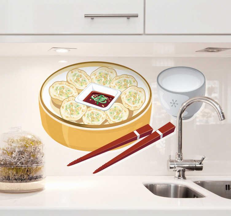 TenStickers. Vinil decorativo taça comida oriente. Vinil decorativo de uma taça de gastronomia japonesa. Sushi acompanhado por uma taça de arroz e os seus tradicionais paus para comer.
