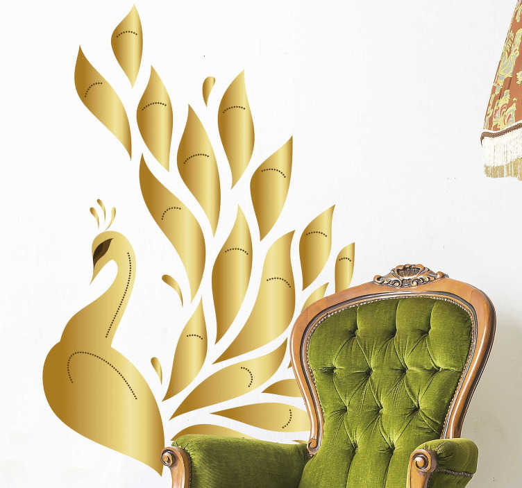 TenStickers. Golden peacock bird sticker. Decorative home wall sticker with the design of an elegant ornamental golden peacock. Choose it in the best suitable size.
