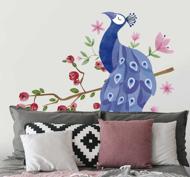 TenStickers. Sticker Oiseau Paon sur une branche. Cet autocollant dessin représente un magnifique dessin de paon aux plumes violettes, en train de se reposer sur une branche d'arbre fleurie.