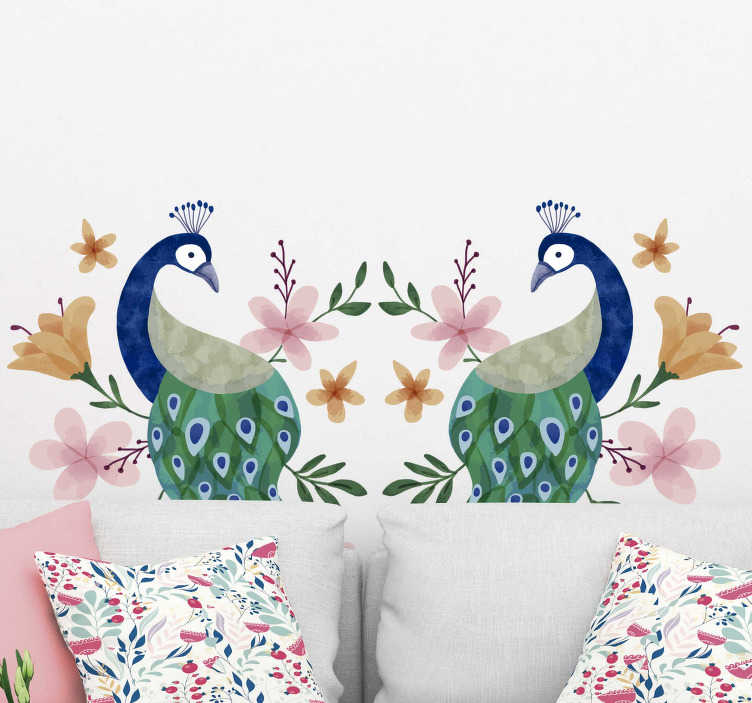 TenStickers. Peacocks` bird sticker. Beautiful and colorful peacock bird wall decal with the design of a graceful looking peacock. Buy it in the best size  for a space.