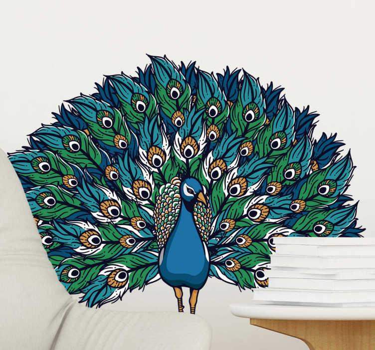 TenStickers. Sticker Mural Paon fier. Ce sticker d'oiseau représente un magnifique paon en train de déployer ses plumes colorées:un design qui ira à merveille sur les murs de votre salon.