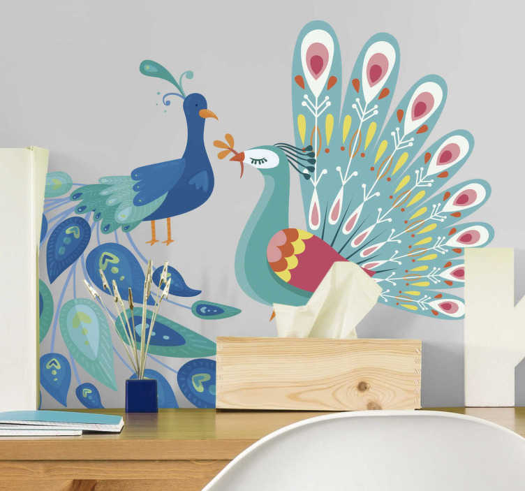 TenStickers. 공작 새 설정 스티커. 장식 공작 새 벽 스티커는 홈 공간을 아름답게합니다. 사랑스럽고 우아한 찾고 공작의 집합입니다. 적절한 크기 치수로 구입하십시오.