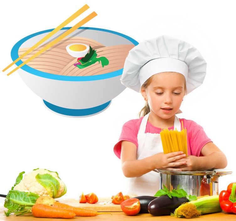 TenStickers. Vinil decorativo taça comida Ásia. Vinil decorativo de uma taça com ovo, carne e verduras, para os fãs de gastronomia asiática. Adesivo de parede para cozinhas ou restaurantes etc.