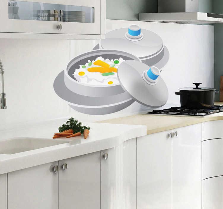 TenStickers. Aziatische eten in een pan sticker. Een muursticker met een pan met Aziatisch eten! Een origineel manier om jouw keuken of jouw restaurant te decoreren!