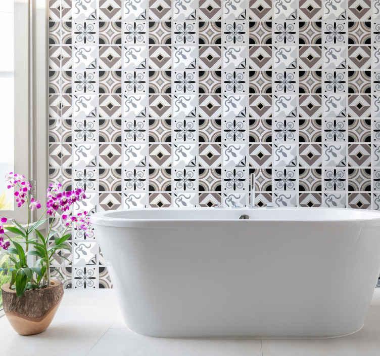TenStickers. Sticker Salle de Bain Patrons simples. Ce sticker frise est composé de plusieurs carreaux de différents designs, représentant des motifs abstraits et colorés. Parfait pour la salle de bain.