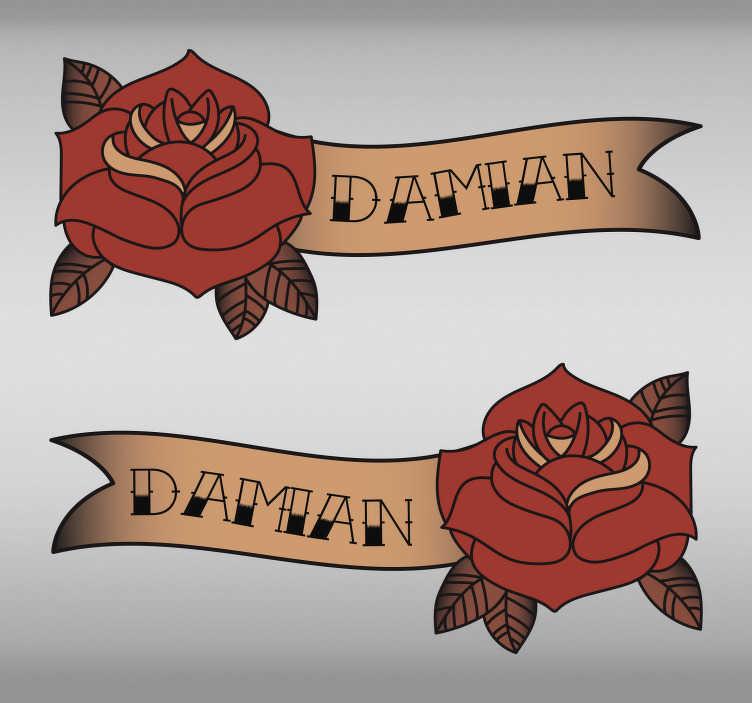 TenStickers. sticker dei fiori ornamentali. Adesivo da parete personalizzato in vinile con nome personalizzato progettato con una pianta floreale colorata vintage originale. Fornire il nome per personalizzarlo.