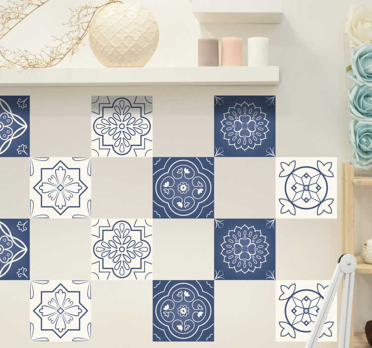 TenStickers. Ornamental tiles floral wall sticker. Ornamental tiling stickers for bathroom, kitchen or living room. Check out our various geometric patterns available on our website.