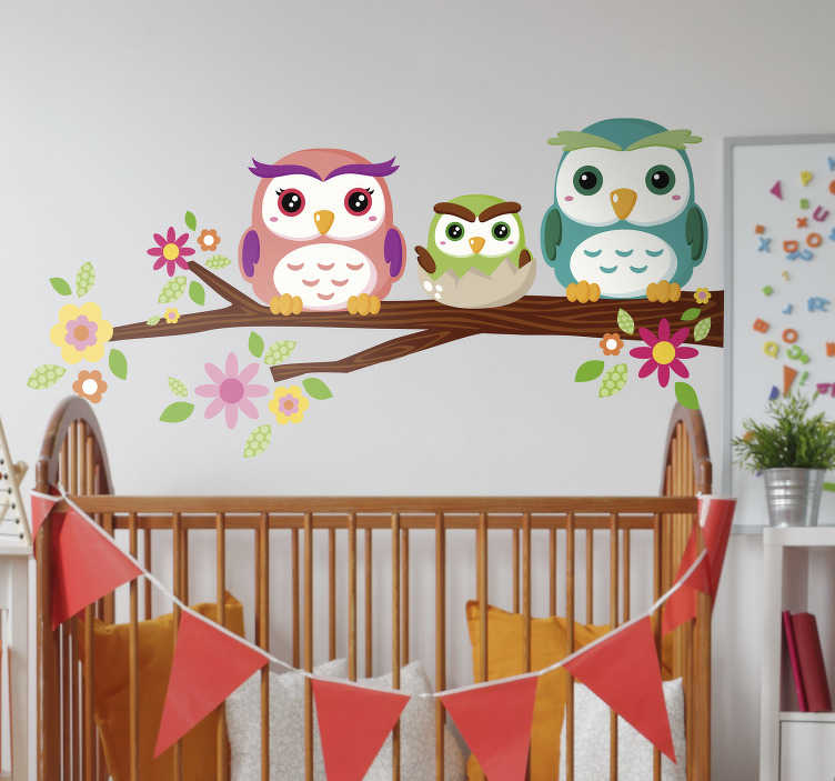 TenStickers. Owls on branch bird wall sticker. Help your children drift peacefully off to sleep under the watchful eyes of this owl family wall sticker. Available in a wide range of sizes!
