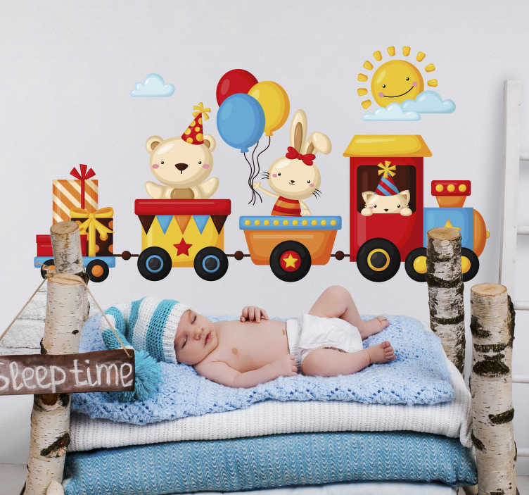 TenStickers. Happy train Home Wall Sticker. Wall stickers for children room are a perfect idea for room decorations. Check the train stickers and colorful wall stickers for children.