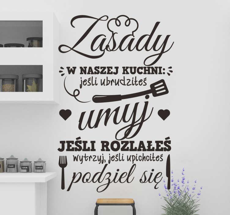 TenStickers. Naklejka na ścianę do domu Zasady w kuchni. Oryginalne naklejki do kuchni z ciekawymi wzorami i napisami do naklejenia na wszelkie płaskie powierzchnie w twoim domu.