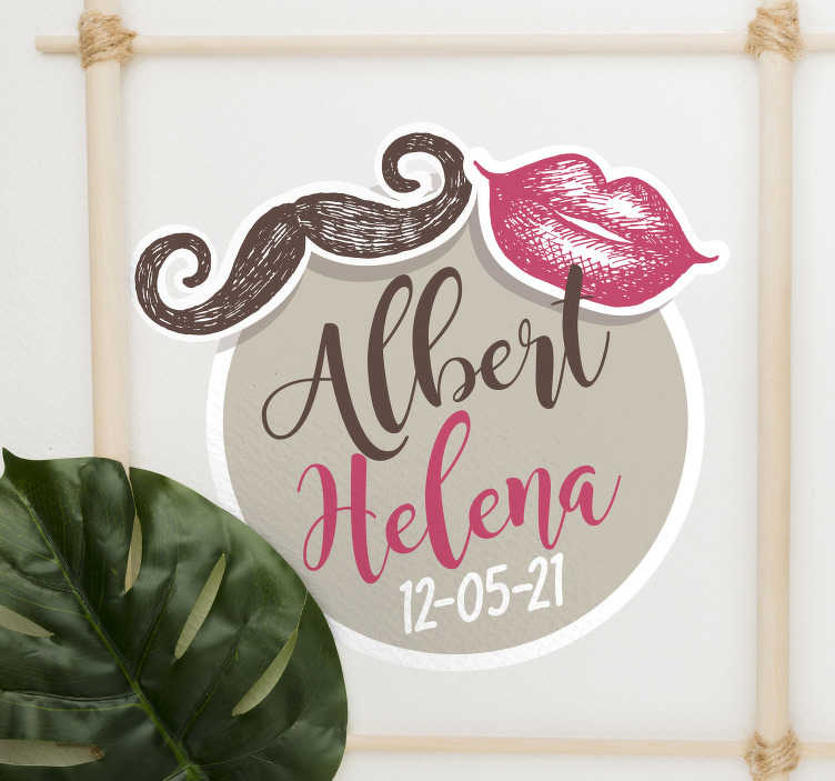 TenStickers. Wedding mustache and lips vinyl sticker. Decorative wedding wall sticker to apply on any flat surface. It can be used on flat surface for wedding reception or in the home. Provide the detail.