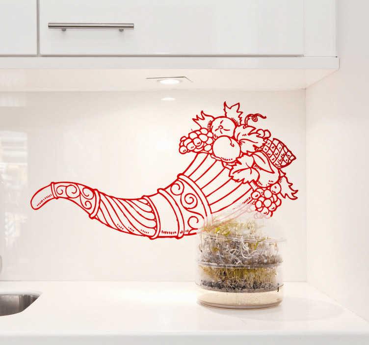 TenVinilo. Vinilo decorativo cuerno de la abundancia. Elegante y vistoso Adhesivo para decorar tu cocina. Una bella trompeta adornada y repleta de jugosa fruta.