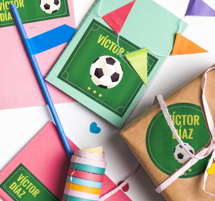 TenStickers. Birthday Football Personalised Sticker. Make a football fan's special day extra-special with this personalized football sticker. Choose from a wide range of shapes and sizes!
