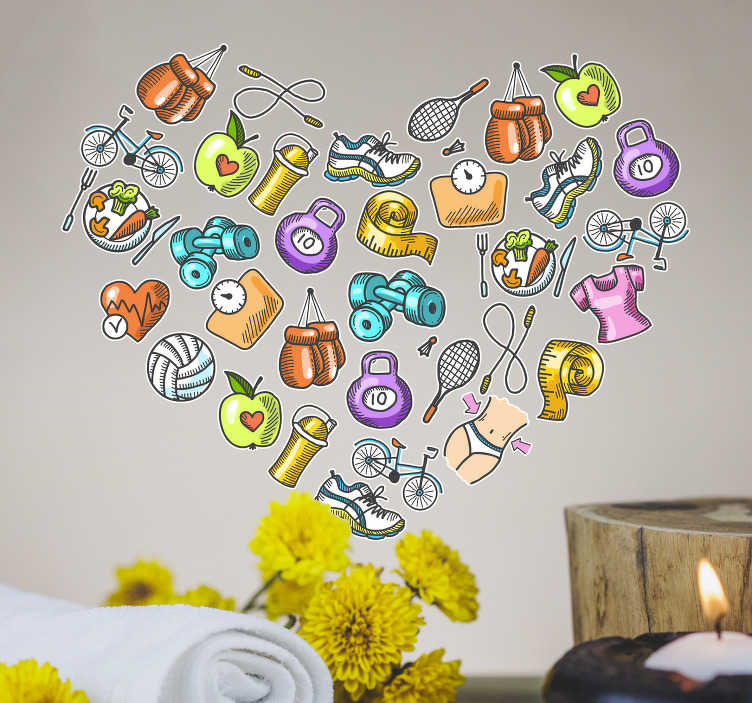 TenStickers. Healthy sports heart sticker. Give any room in your house some energy with this high quality, sports-themed heart sticker. Choose from a wide range of sizes!