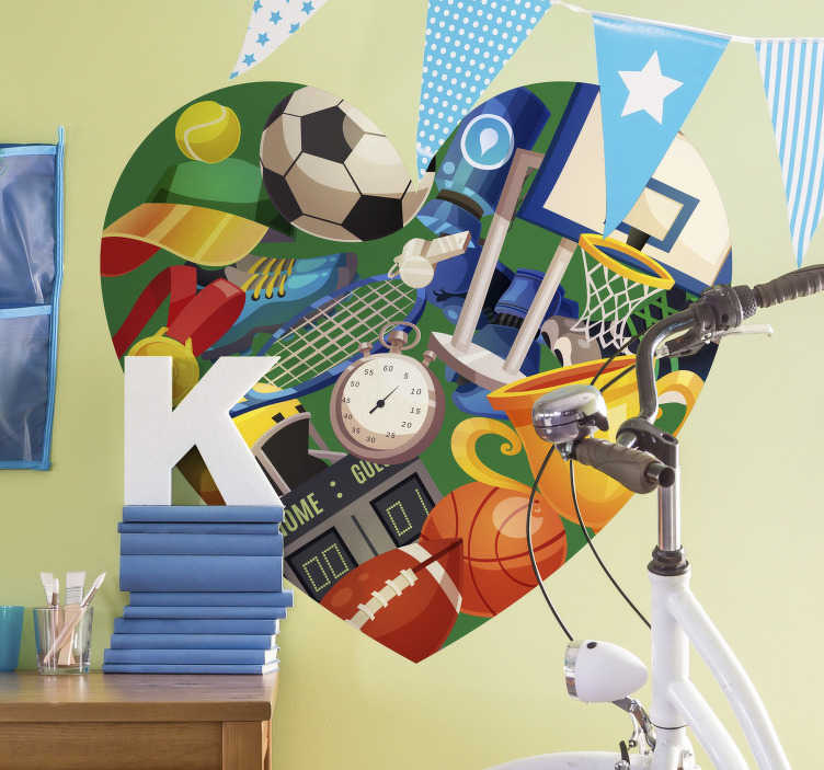 TenStickers. Sports Heart Home Wall Sticker. Give your kids' rooms some energy with this high quality heart sticker full of sporty objects. Choose from a wide variety of sizes!