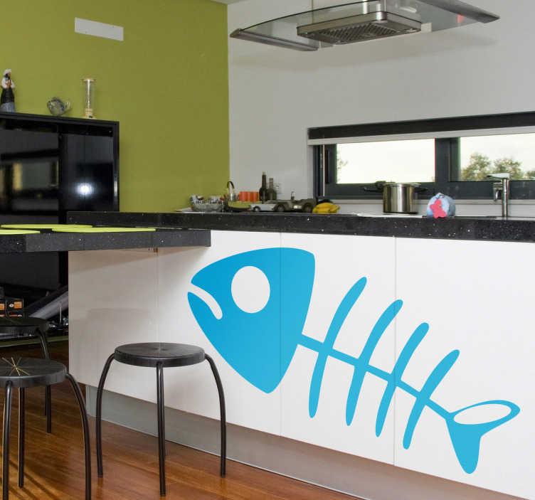 TenVinilo. Vinilo decorativo esqueleto pescado. Gracioso Adhesivo decorativo para tu cocina de una raspa de pez. Si no te gustan las espinas de las sardinas utilízalas para adornar.