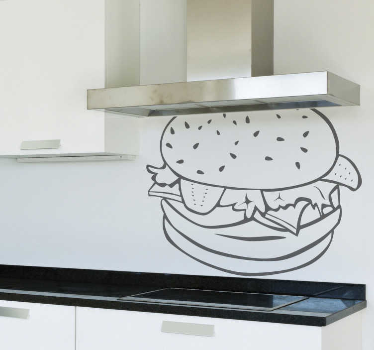 TenStickers. Muursticker keuken hamburger. Deze muursticker omtrent een smakelijke burger met allerlei soorten groente ertussen. Gescikte wanddecoratie voor keukens.