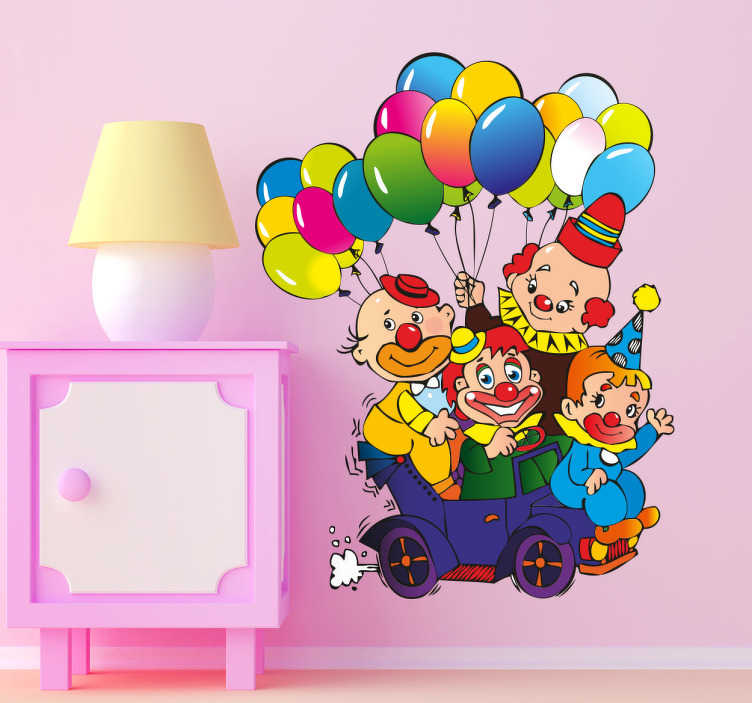 TenStickers. Kids Stickers Clowns and Balloons. Kids wall sticker art - illustration design of funny clowns trying to fit in a small car.