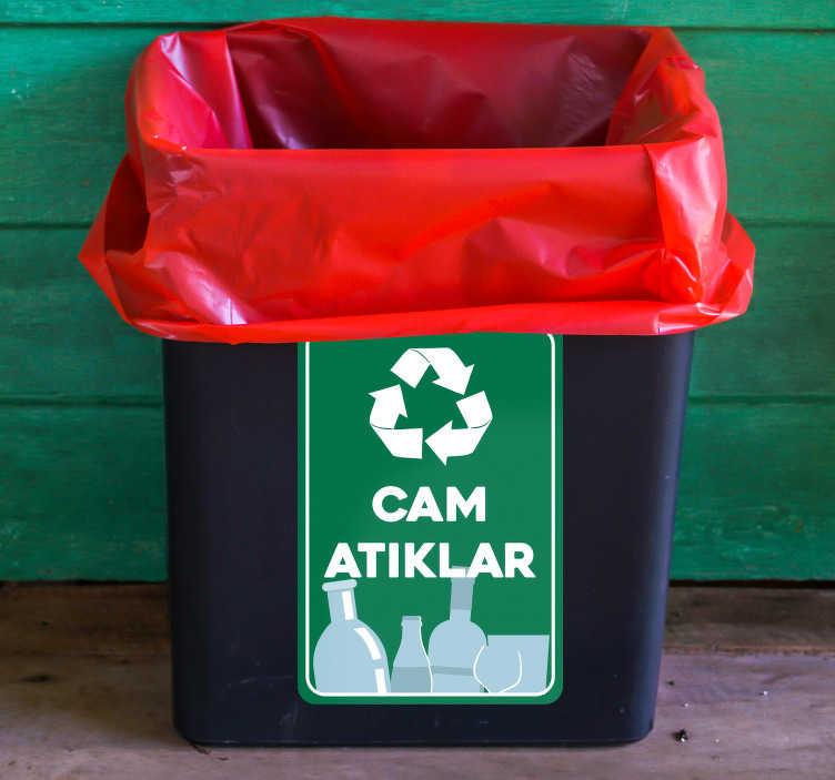 TenStickers. Geri dönüşümlü cam vinil işareti. Dünyayı temizlemek zor bir iş gibi görünüyor ama en azından çevremizle başlayabiliriz. Etiket işareti çöp kutunuzu ayırmanıza yardımcı olmak için buradadır.