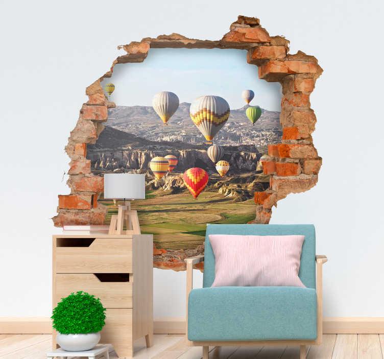 TenStickers. Sıcak hava balonları 3d görsel efektler duvar resmi sticker. Philips fogg gibi hissetmek ister misiniz? Belki de sıcak bir balonda 80 gün yetmez! Bu duvar çıkartmasıyla evinizde her gün var.