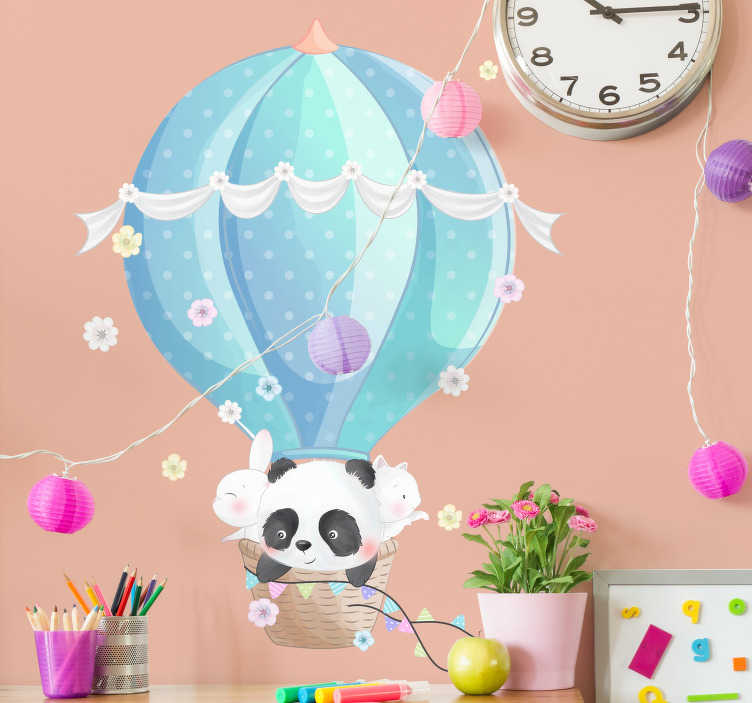 TenStickers. Hot air balloons wall stickers for kids. Brighten up your kids' room with this excellent piece of wall art of a flight of peaceful hot air balloons, available in a variety of sizes!