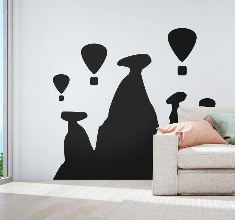 TenStickers. Hor hava balonları siluet manzarası siluet. Kendini hayalperest olarak mı düşünüyorsun? Bu duvar çıkartması, hayal gücünüzle uçmanız için size kanatlar verecek ve sakin bir his verir. şimdi sipariş ver!