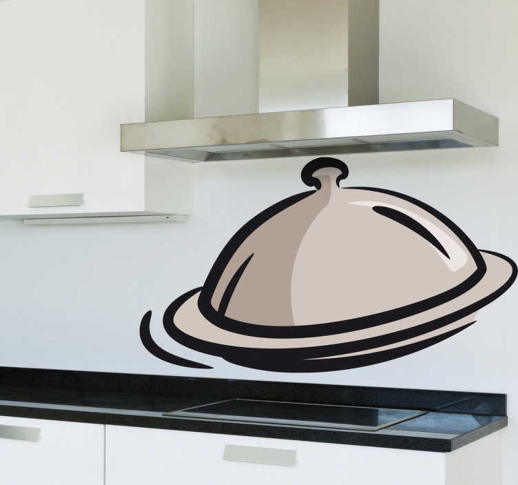 TenStickers. Sticker cuisine cloche de repas. Ajoutez de la gaieté à votre mobilier, vos murs ou vos appareils électroménagers avec ce sticker pour cuisine représentant une cloche.