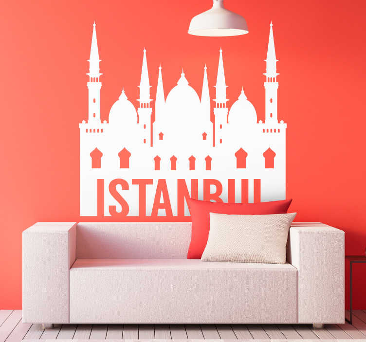 TenStickers. Istanbul skyline oturma odası duvar dekoru. Istanbul imajıyla, istanbul'un güzel atmosferini doğrudan oturma odanızda veya yatak odanızda yaratın