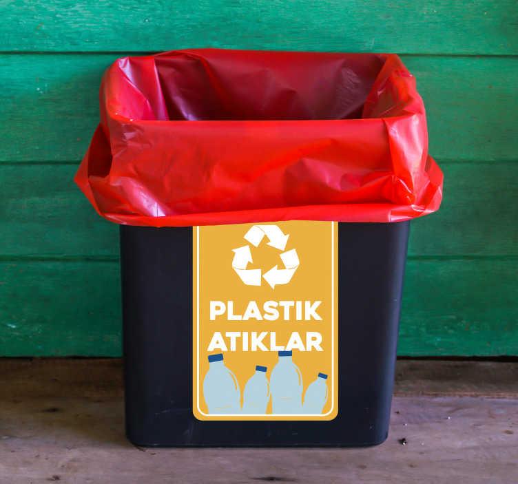 TenStickers. Geri dönüşüm plastik vinil işareti. çevre tehlikede! Bu işaret etiketi ile kendinize ve çocuğunuzun geleceğine yardım edin. -dönüşüm! şimdi sipariş ver!