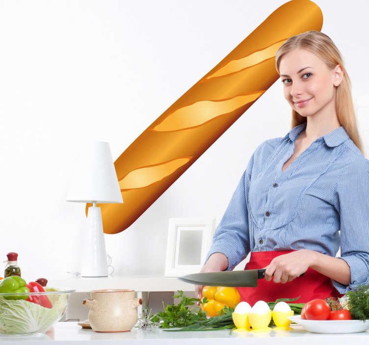 TenVinilo. Vinilo decorativo ilustración barra pan. Adhesivo decorativo para tu cocina de una crujiente baguette, rica para hacer bocadillos o simplemente para acompañar cualquier plato.