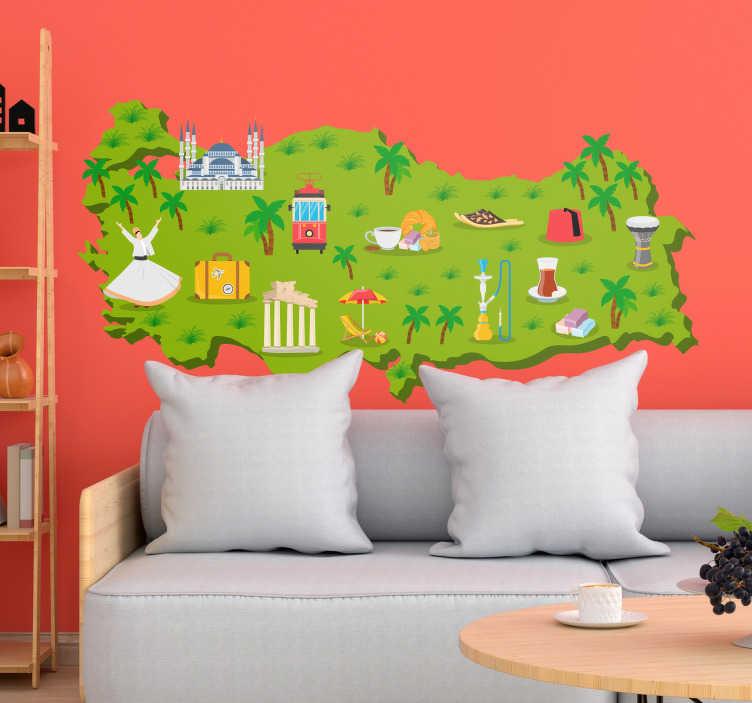 TenStickers. Türkiye haritası semboller dünya haritası duvar sticker. Bu dünya haritası duvar sticker bir çocuk odası için ideal bir duvar dekorasyonu ve yüksek kaliteden yapılmıştır, bu da uygulanmasını kolaylaştırır