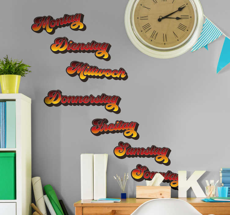 TenStickers. German days of the week wall stickers for kids. Make learning German easy like a sonntag morgen with these German days of the week decals. Choose from a wide range of sizes!