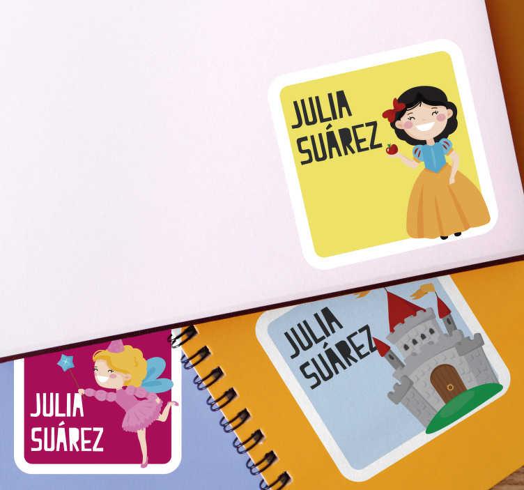 TenVinilo. Pegatina pequeña adhesivas libretas. Pegatina con dibujos ideal para personalizarla con el nombre de tus hijos y ponerla de forma rápida y sencilla en sus libretas. Envío exprés 24/72h.
