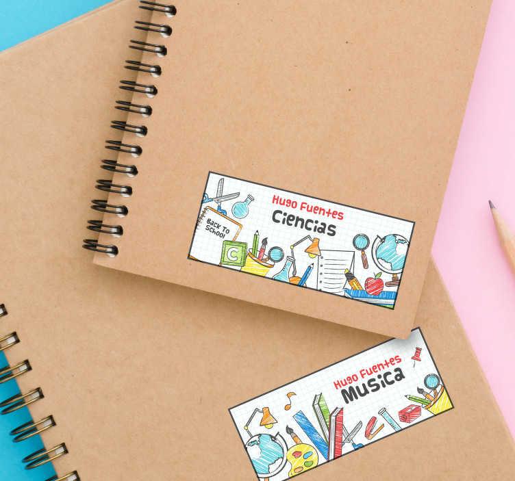TenVinilo. Pegatinas adhesivas para libretas con nombre personalizado. Compre este vinilo personalizado para decorar y organizar artículos personales como los libros con nombres personalizables. Fácil de aplicar