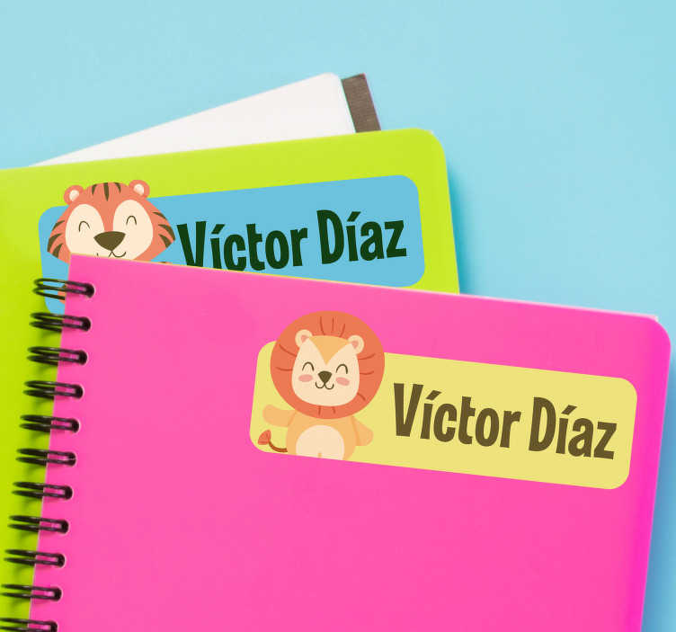 TenStickers. Personalised Animal Notebook Sticker. Make the first day of school the best day of the year with these amazing personalised animal notebook stickers. Worldwide delivery!