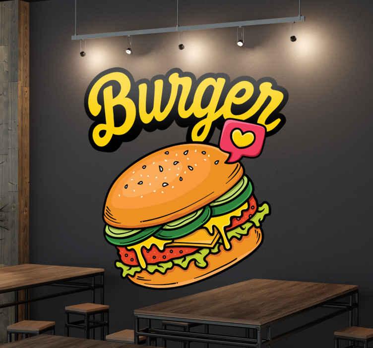TenStickers. Sticker Hamburger. Krijg je al zin in hamburger als je deze sticker ziet? Op deze muursticker zie je een broodje met vlees, sla, tomaat, ui en saus.
