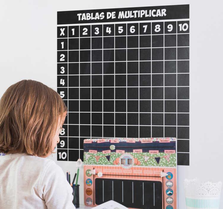 TenVinilo. Vinilo pizarra tiza tablas multiplicar. Compre nuestro vinilo de pizarra adhesiva para pared de una con tabla de multiplicar. Ideal para que los niños aprendan y memoricen.